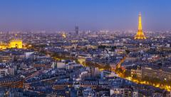 Stock Video Footage of City, Arc de Triomphe and the Eiffel Tower, Paris, France - Time lapse