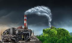 Industry Pollution - stock illustration