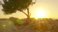 Panning shot of Sunset time-lapse of sunset on Mount Arbel near the Sea of Stock Footage