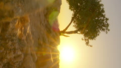 Vertical shot of Sunset time-lapse of sunset on Mount Arbel near the Sea of Stock Footage