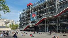Paris, France, the Centre Georges Pompidou, Beaubourg-Les Halles - Time lapse - stock footage