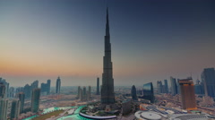 sunset to night illumination world famous highest building 4k time lapse uae - stock footage