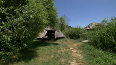 Straw hut at the Astra National Museum, Sibiu Stock Footage