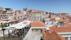 View of the Alfama quarter, Portugal Stock Footage