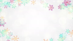 Multicolor snowflakes frame loopable background Stock Footage