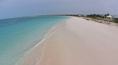 Aerial drone view tropical white sand beach Stock Footage