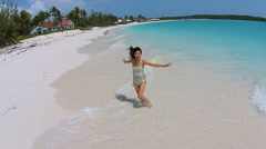 Aerial drone view beautiful Asian Chinese girl on beach Stock Footage