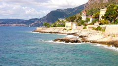 Coast in Cap d'Ail, Cote d'Azur, France Stock Footage