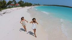 Aerial drone view multi ethnic girls enjoying luxury tourism destination Stock Footage
