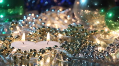 burning candles and christmas decoration loopable background - stock footage