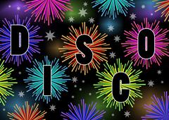 Disco billboard with firework stars in vibrant colors - stock illustration