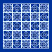 Blue tile with fine white geometric line ornaments in square, contrasting eth Stock Illustration