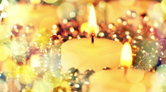 candles and christmas lights bokeh loopable background - stock footage