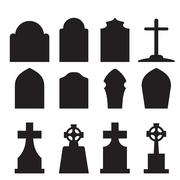 Set of headstone and tombstone silhouette - stock illustration