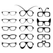 Set of glasses frame in fancy style Stock Illustration