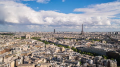 City, Arc de Triomphe and the Eiffel Tower, Paris, France - Time lapsee - stock footage