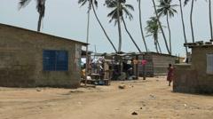 Ghana african poor village tele 4K Stock Footage