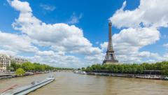 River Seine with the Eiffel Tower, Paris, France, Europe - Time lapse Stock Footage