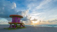 4K Time lapse - Art Deco style Lifeguard hut on South Beach, Miami, USA Stock Footage