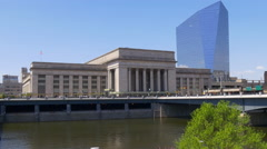 Philadelphia river panorama 30th street station with cira centre 4k usa Stock Footage