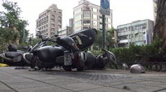 Motorcycle Damage After Tropical Storm Hits Taiwan, Typhoon Soudelor 4K-Dan Stock Footage