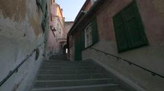 Stairs street in Sibiu Stock Footage