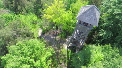 A lookout tower, view from the sky - stock footage