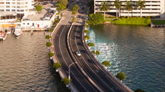 4K Time lapse - Road bridge from Brickell Key, Miami, Florida, USA Stock Footage