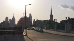 philadelphia city sunset street traffic view 4k pennsylvania usa - stock footage