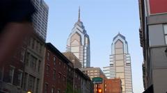 Philadelphia city sunset view on famous buildings 4k pennsylvania usa Stock Footage