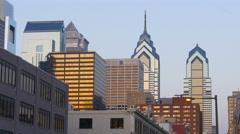 Famous philadelphia city sunset buildings top panoramam 4k pennsylvania usa Stock Footage