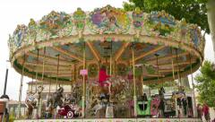 Pretty Modern Carousel in France Stock Footage