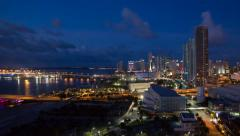 4K Time lapse - Biscayne Boulevard and the skyline of Miami, Florida, USA - stock footage