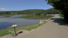 View of the lake at the Open Air Museum, Sibiu Stock Footage