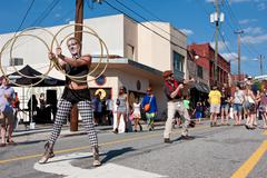 Street Performers Entertain People At Atlanta Festival Stock Photos