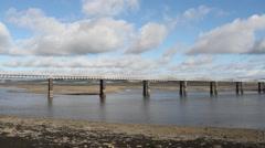Timelapse of Railway bridge Montrose Scotland Stock Footage