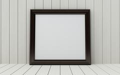 Realistic picture frame on wood background. Stock Illustration