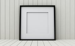 Realistic picture frame on wood background. - stock illustration
