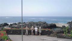 Garachico Town In Tenerife - People Looking at Ocean Volcanic Rock Beach Steady Stock Footage