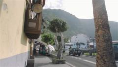 Garachico Town In Tenerife - Walk Through Steady Town Street People Cars Sunny Stock Footage