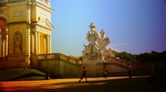 ULTRA HD 4K real time shot,The Gloriette Schonbrunn at sunset in Vienna Stock Footage