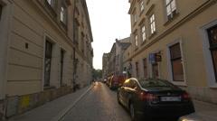 Świętego Tomasza Street at sunset, Krakow Stock Footage