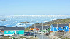 Time Lapse Ilulissat Town Disko Bay Greenland Glacial Ice Mass Melting Ocean - stock footage