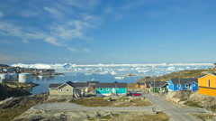 Colored Houses Ilulissat Arctic Circle Remote Coastal Global Warming Time Lapse Stock Footage