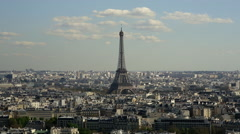Eiffel Tower, viewed over rooftops, Paris, France, Europe - stock footage