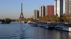 River Seine with high-rise buildings on the Left Bank, and Eiffel Tower, Paris, Stock Footage