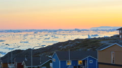 Sunset Colored Houses Ilulissat Arctic Circle Remote Glacial Coastal Time Lapse Stock Footage