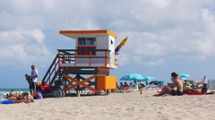florida summer day miami south crowded beach 4k florida usa - stock footage