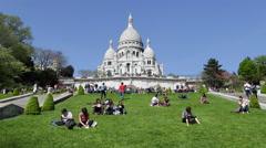 Sacre Coeur, Montmartre, Paris, France, Europe - stock footage