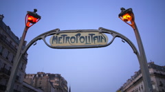 Art deco Metropolitain (subway) sign, Paris, France, Europe - stock footage
